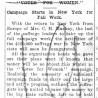 Page 023 : Votes For Women : Campaign Starts In New York For Fall Work