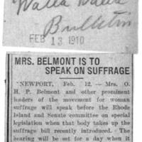 Page 142 : Mrs. Belmont is to speak on suffrage