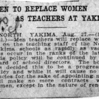 Page 022 : Men to Replace Women as Teachers at Yakima