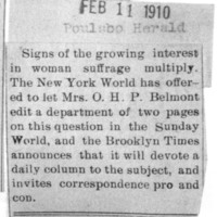 Page 137 : [newsclipping : Mrs. O.H.P. Belmont to edit a department  on woman suffrage]
