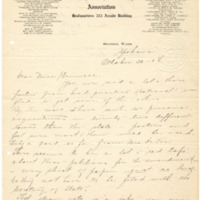 Letter from LaReine Baker to May Grinnell, 10/30/1908, page 1