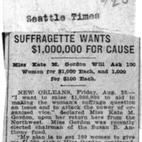 Page 142 : Suffragette Wants $1,000,000 for Cause