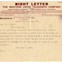 Telegram from Mrs. John Allen to Mrs. H. Isaacs, 2/9/1912, Front