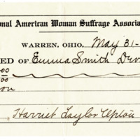 Receipt No. 37 of Emma Smith Devoe for $50, signed by Harriet Upton, Treasurer, 5/31/1906