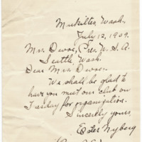 Letter from Ester Nyberg to Emma Smith DeVoe, 7/12/1909, page 1