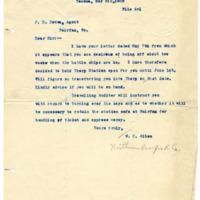 Letter from W. Albee to John H. DeVoe, 5/8/1908