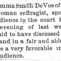 Page 076 : [news clipping: Review of Emma Smith DeVoe lecture at court house]