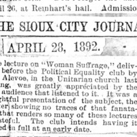 Page 011 : [news clipping: Review of Emma Smith DeVoe lecture at Sioux City, Iowa]
