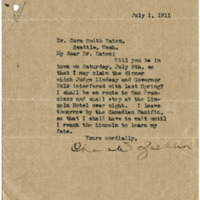 Letter from Charles Zueblin to Cora Smith Eaton, 7/1/1911