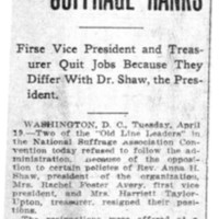 Page 092 : More Trouble in Suffrage Ranks: First Vice President and Treasurer Quit Jobs Because They Differ With Dr.Shaw, the President