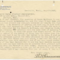 Letter from W. Cameron to, 8/17/1909