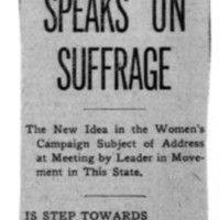 Page 138 : Mrs. DeVoe Speaks on Suffrage (continued on page 139)