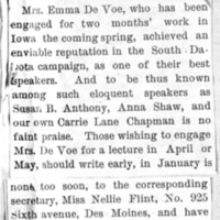 Page 007 : [news clipping: Emma Smith DeVoe to make Iowa appearances in Spring 1892]