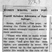 Page 159 : Women Wrong, Says Pope