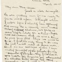 Letter from Sara Callow to Emma Smith DeVoe, 3/15/1908, page 1
