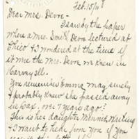 Letter from Minnie Jackson to Emma Smith DeVoe, 2/15/1911, page 1