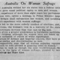 Page 001 : Australia On Woman Suffrage