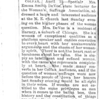 Page 037 : [news clipping: Review of Emma Smith DeVoe lecture at Colfax, Iowa]