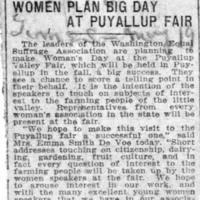 Page 141 : Women Plan Big Day at Puyallup Fair