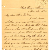 Letter from Julia Nelson to Emma Smith DeVoe, 4/22/1895, page 1