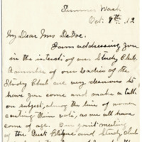 Letter from Mrs. S. George to Emma Smith DeVoe, 10/8/1912, page 1