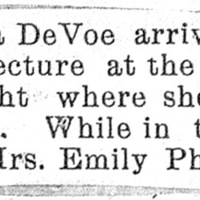 Page 021 : [news clipping: Emma Smith DeVoe to be guest of Emily Phillips]