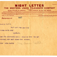 Telegram from Leona Cartee, 8/9/1913