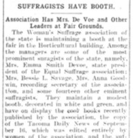 Page 166 : Suffragists Have Booth: Association Has Mrs. DeVoe and Other Leaders at Fair Grounds