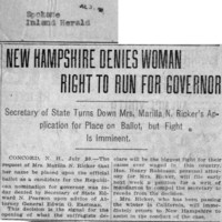 Page 027 : New Hampshire Denies Woman Right to Run for Governor: Secretary of State Turns Down Mrs. Marilla N. Ricker's Application for Place on Ballot