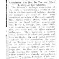 Page 161 : Suffragists Have Booth: Association Has Mrs. DeVoe and Other Leaders at Fair Grounds