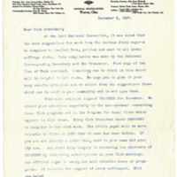 Letter from Harriet Upton to 'Dear Club President', 12/5/1907, page 1