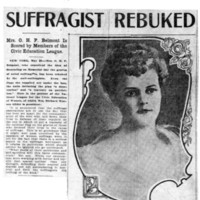 Page 147 : Suffragist Rebuked: Mrs. O.H. P. Belmont Is Scored by Members of the Civic Education League