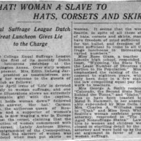 Page 129 : What! Woman a Slave to Hats, Corsets and Skirts!