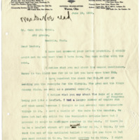 Letter from Harriet Upton to Cora Smith Eaton, 6/19/1908, page 1