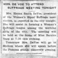 Page 042 : Mrs. DeVoe To Attend Suffrage Meeting Tonight