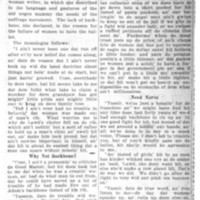 Page 100 : Backbone Will Get Ballot: Dorothy Dix Views Suffrage Movement Through Eyes of Old Negro Mammy - Delivers Monologue to Women