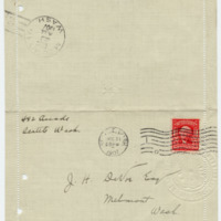 Letter from Cora Smith Eaton to John DeVoe, 12/21/1907, front