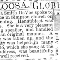 Page 007 : [news clipping: Review of Emma Smith DeVoe lecture at Oskaloosa, Iowa]