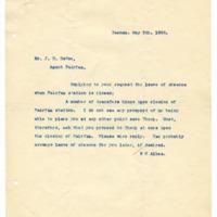 Letter from W. Albee to John H. DeVoe, 5/5/1908