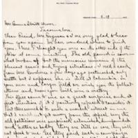 Letter from Harry Ferguson to Emma Smith DeVoe, 8/19/1911, page 1