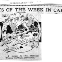 Page 106 : Events of the Week in Cartoon: A mouse in the National Woman Suffrage convention