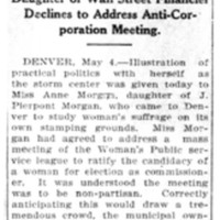 Page 122 : Anne Morgan Gets First Hand Lesson: Daughter of Wall Street Financier Declines to Address Anti-Corporation Meeting