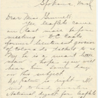 Letter from LaReine Baker to May Grinnell, 10/15/1908, page 1
