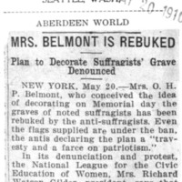 Page 147 : Mrs. Belmont is Rebuked: Plan to Decorate Suffragists' Grave Denounced