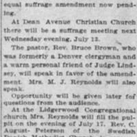 Page 040 : Will Discuss Suffrage: Churches of City to Hold Meetings to Consider Amendment in Cause of Women