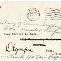 Letter from Ida Harper to Cora Smith King, 1/20/1921, page 2 -- envelope
