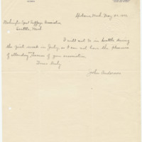 Letter from John Anderson, 5/23/1909, page 1