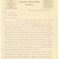 Letter from Cora Smith Eaton to John DeVoe, 3/12/1908, page 1