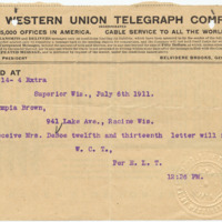 Telegram from W.C.T. to Olympia Brown, 7/6/1911, page 1