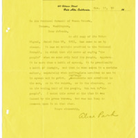 Letter from Alice Park to The National Council of Women Voters, 11/17/1912, page 1